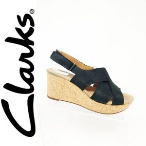Clarks Leather Crossband Caslynn Shae Wedge Black